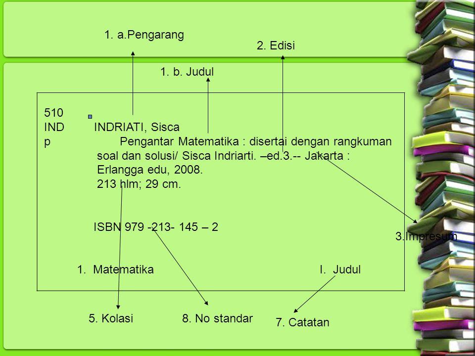 510 IND INDRIATI, Sisca p Pengantar Matematika : disertai dengan rangkuman soal dan solusi/ Sisca Indriarti. –ed.3.-- Jakarta : Erlangga edu, 2008. 21