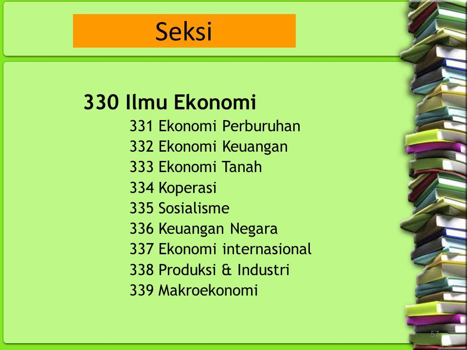 57 330 Ilmu Ekonomi 331 Ekonomi Perburuhan 332 Ekonomi Keuangan 333 Ekonomi Tanah 334 Koperasi 335 Sosialisme 336 Keuangan Negara 337 Ekonomi internas