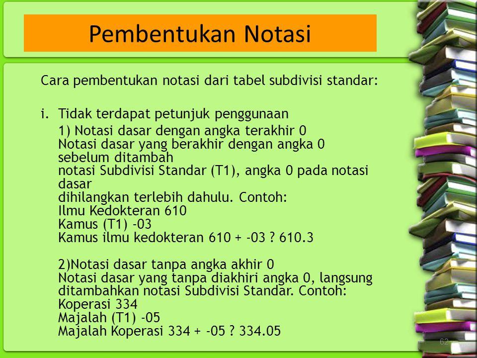62 Cara pembentukan notasi dari tabel subdivisi standar: i.Tidak terdapat petunjuk penggunaan 1) Notasi dasar dengan angka terakhir 0 Notasi dasar yan