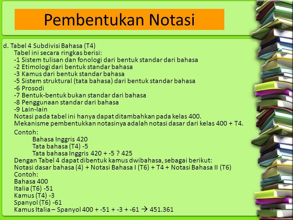 68 d. Tabel 4 Subdivisi Bahasa (T4) Tabel ini secara ringkas berisi: -1 Sistem tulisan dan fonologi dari bentuk standar dari bahasa -2 Etimologi dari