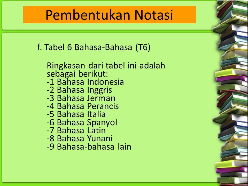 71 f. Tabel 6 Bahasa-Bahasa (T6) Ringkasan dari tabel ini adalah sebagai berikut: -1 Bahasa Indonesia -2 Bahasa Inggris -3 Bahasa Jerman -4 Bahasa Per