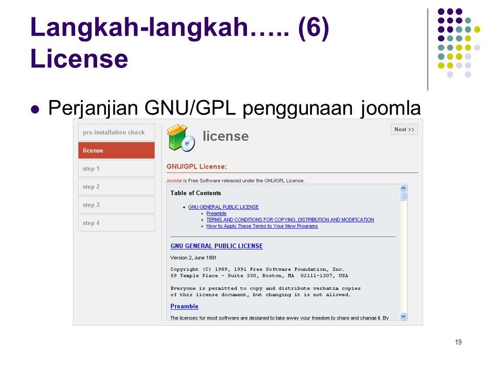 19 Langkah-langkah….. (6) License Perjanjian GNU/GPL penggunaan joomla