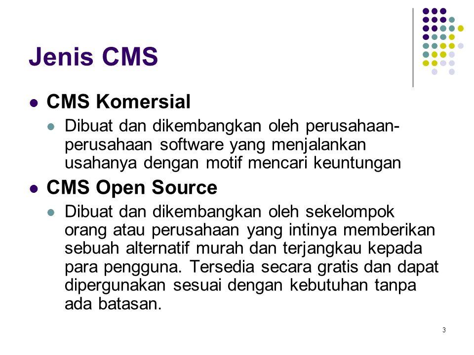 3 Jenis CMS CMS Komersial Dibuat dan dikembangkan oleh perusahaan- perusahaan software yang menjalankan usahanya dengan motif mencari keuntungan CMS Open Source Dibuat dan dikembangkan oleh sekelompok orang atau perusahaan yang intinya memberikan sebuah alternatif murah dan terjangkau kepada para pengguna.