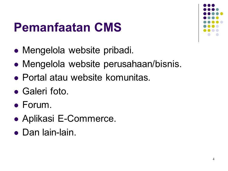 4 Pemanfaatan CMS Mengelola website pribadi. Mengelola website perusahaan/bisnis. Portal atau website komunitas. Galeri foto. Forum. Aplikasi E-Commer