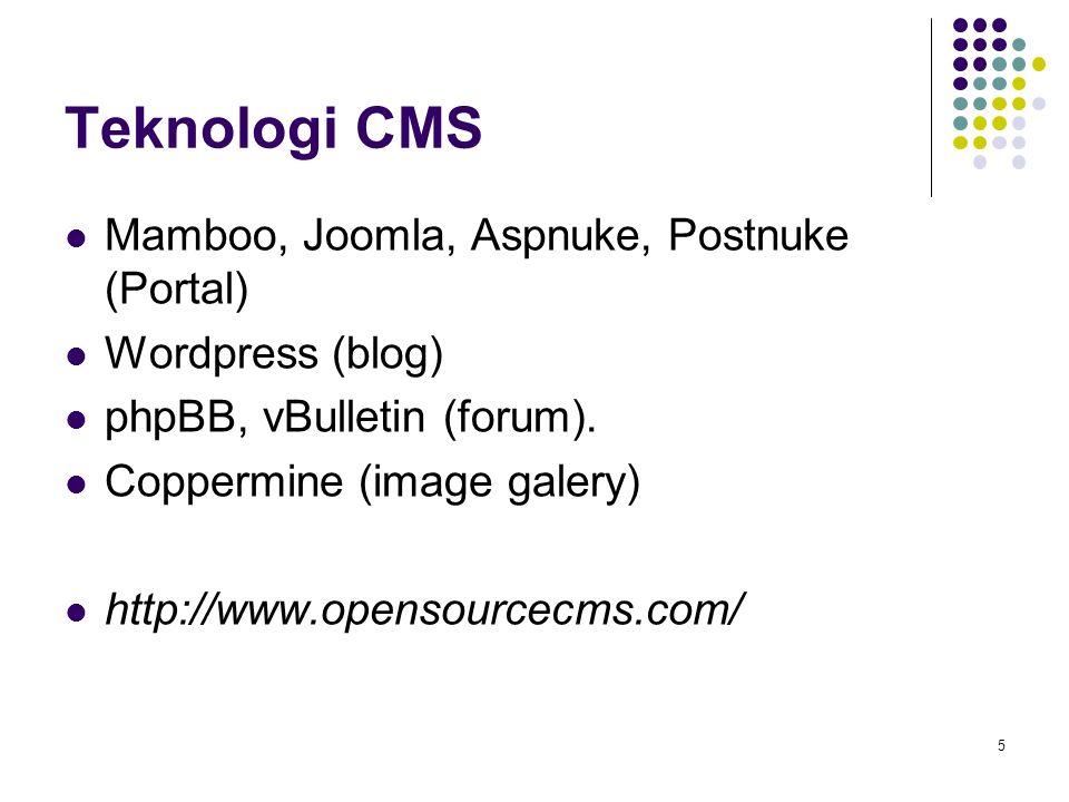 5 Teknologi CMS Mamboo, Joomla, Aspnuke, Postnuke (Portal) Wordpress (blog) phpBB, vBulletin (forum). Coppermine (image galery) http://www.opensourcec