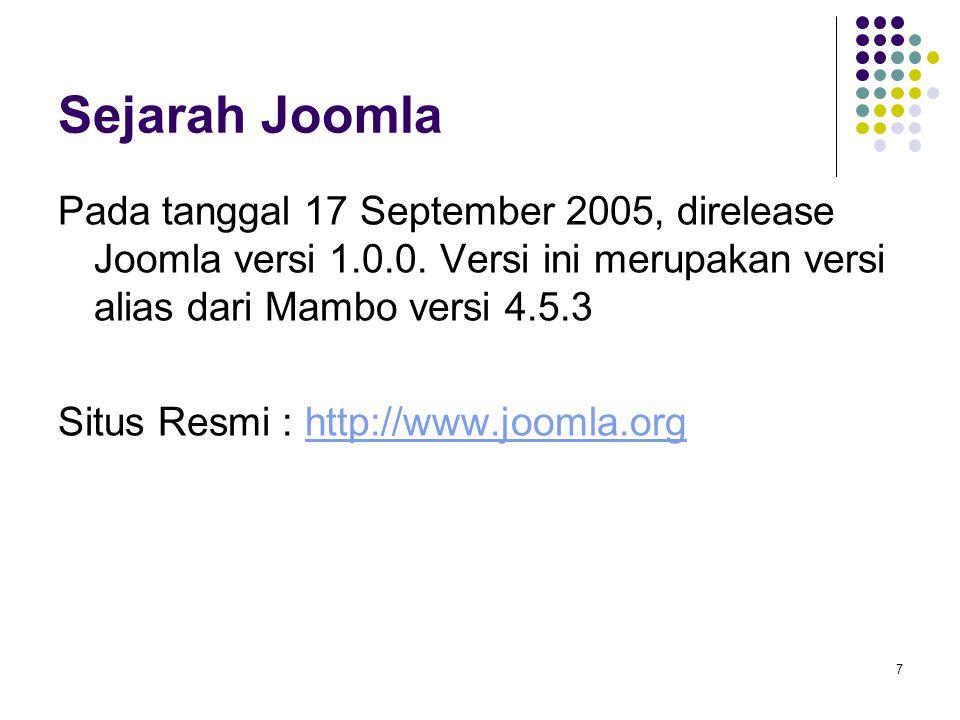7 Sejarah Joomla Pada tanggal 17 September 2005, direlease Joomla versi 1.0.0. Versi ini merupakan versi alias dari Mambo versi 4.5.3 Situs Resmi : ht