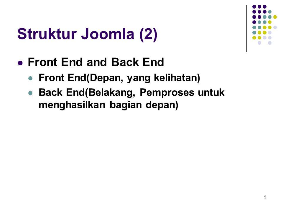 9 Struktur Joomla (2) Front End and Back End Front End(Depan, yang kelihatan) Back End(Belakang, Pemproses untuk menghasilkan bagian depan)