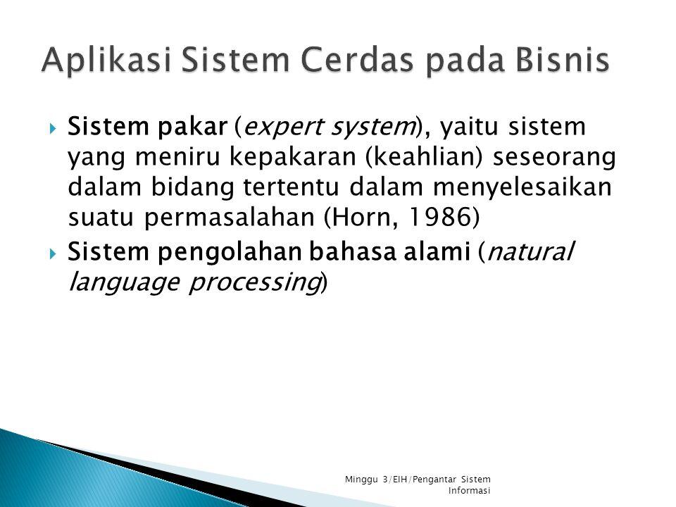  Sistem pakar (expert system), yaitu sistem yang meniru kepakaran (keahlian) seseorang dalam bidang tertentu dalam menyelesaikan suatu permasalahan (