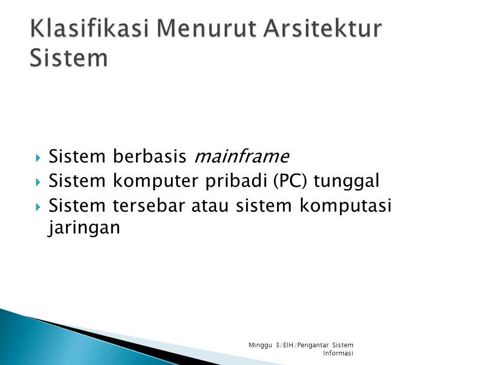  Sistem berbasis mainframe  Sistem komputer pribadi (PC) tunggal  Sistem tersebar atau sistem komputasi jaringan Minggu 3/EIH/Pengantar Sistem Info