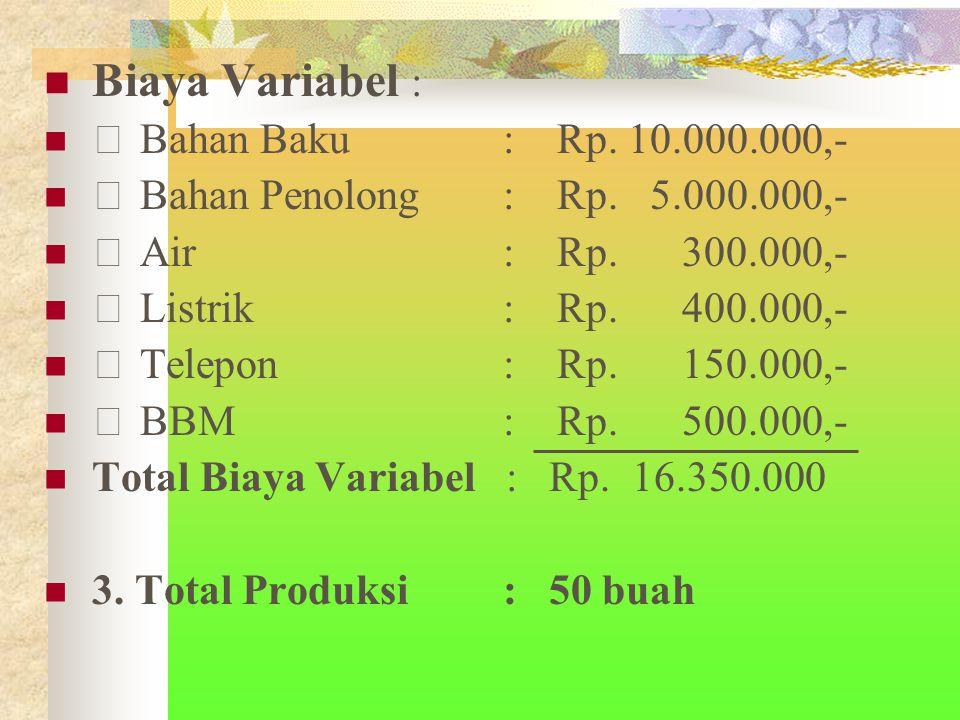 Biaya Variabel :  Bahan Baku : Rp.10.000.000,-  Bahan Penolong : Rp.