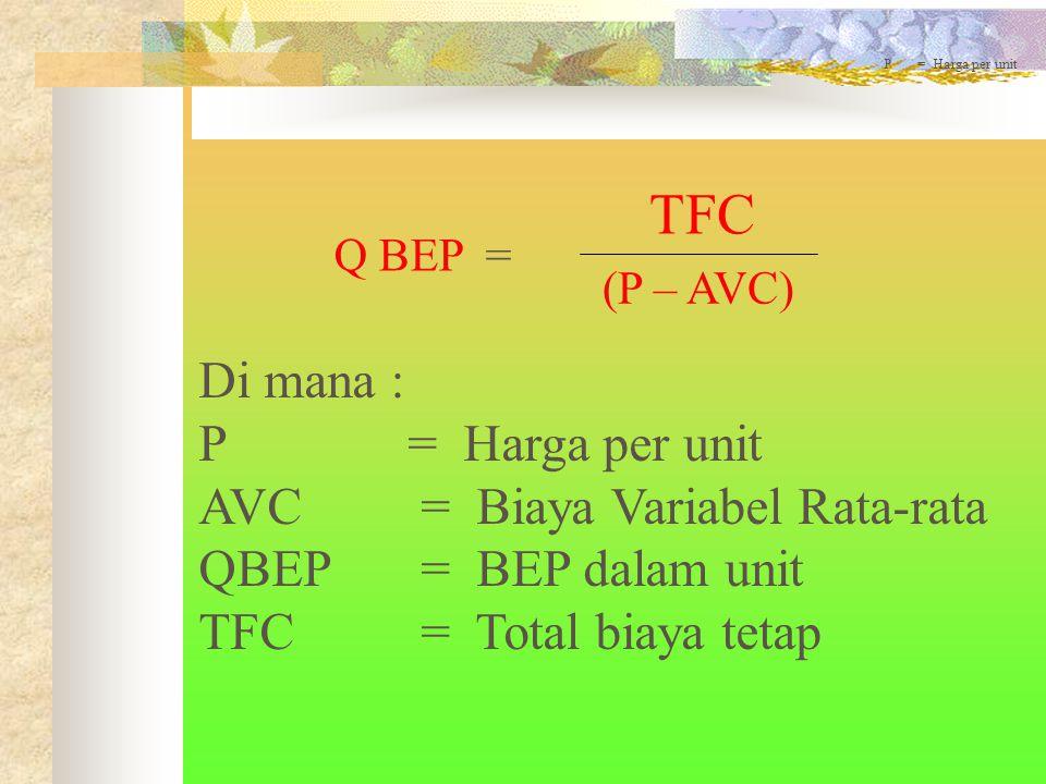 Q BEP = TFC (P – AVC) P = Harga per unit Di mana : P = Harga per unit AVC = Biaya Variabel Rata-rata QBEP = BEP dalam unit TFC = Total biaya tetap