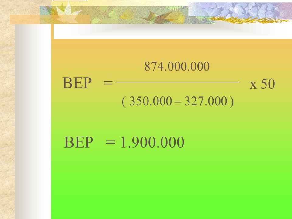 BEP = 1.900.000 874.000.000 ( 350.000 – 327.000 ) BEP = x 50