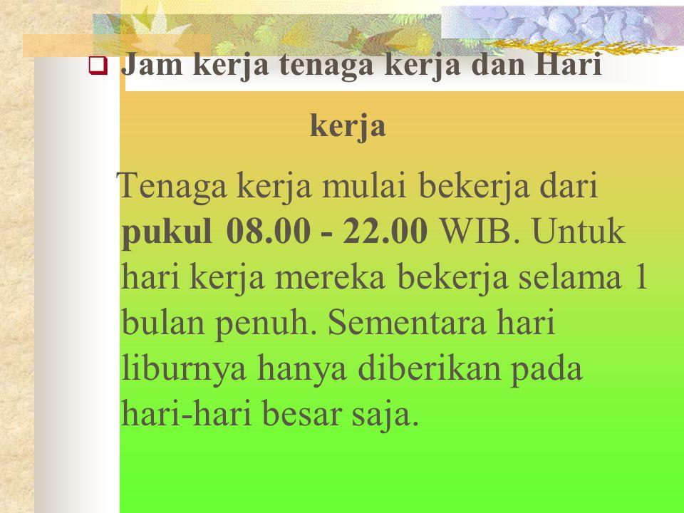  Jam kerja tenaga kerja dan Hari kerja Tenaga kerja mulai bekerja dari pukul 08.00 - 22.00 WIB.
