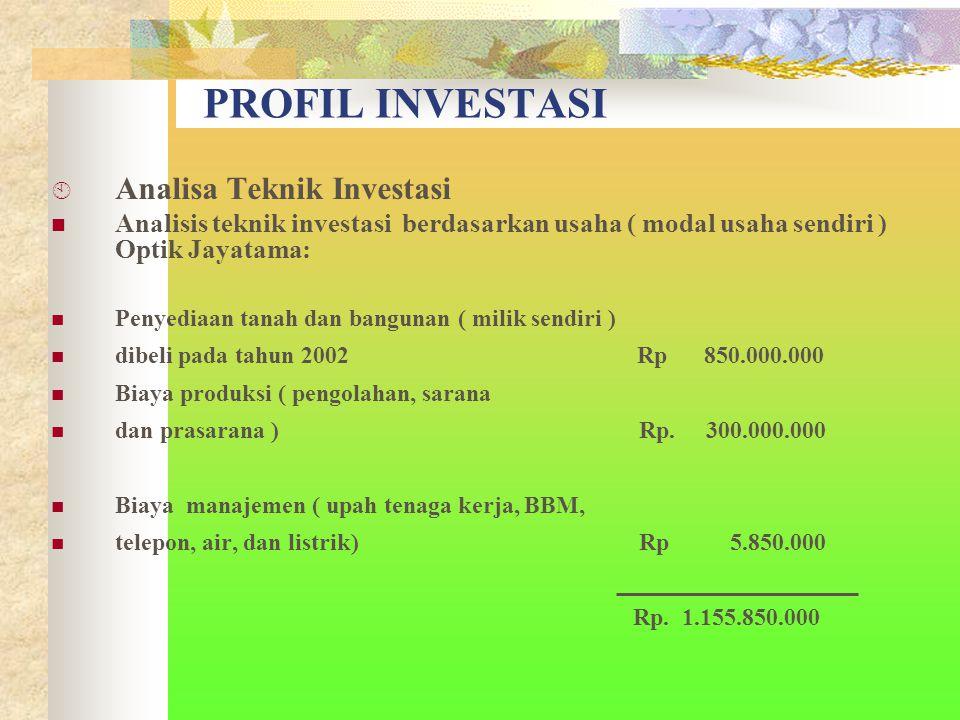 PROFIL INVESTASI  Analisa Teknik Investasi Analisis teknik investasi berdasarkan usaha ( modal usaha sendiri ) Optik Jayatama: Penyediaan tanah dan bangunan ( milik sendiri ) dibeli pada tahun 2002 Rp 850.000.000 Biaya produksi ( pengolahan, sarana dan prasarana ) Rp.