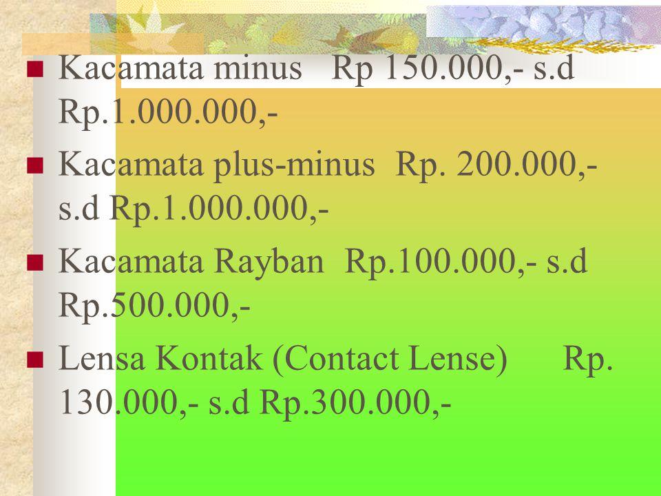 Kacamata minus Rp 150.000,- s.d Rp.1.000.000,- Kacamata plus-minus Rp.
