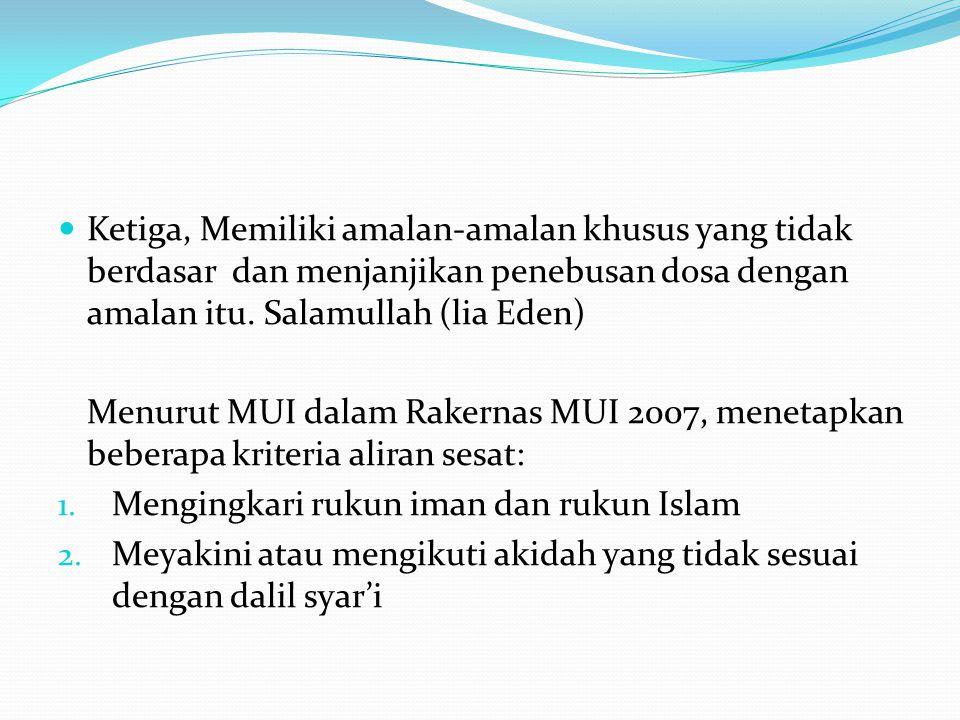 3.Meyakini turunnya wahyu setelah Al Qur'an 4. Mengingkari otentisitas dan kebenaran Al Qur'an 5.
