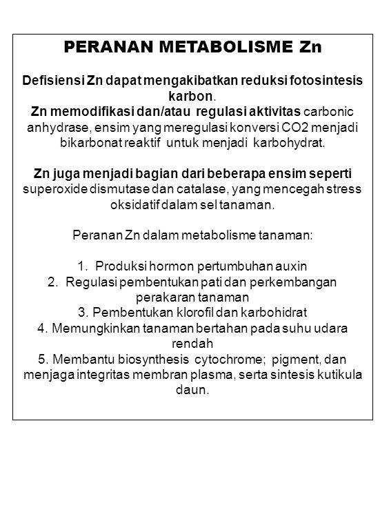 APLIKASI Zn Zn kadangkala disebar di tanah untuk mengoreksi rendahnya ketersediaan Zn dalam tanah.