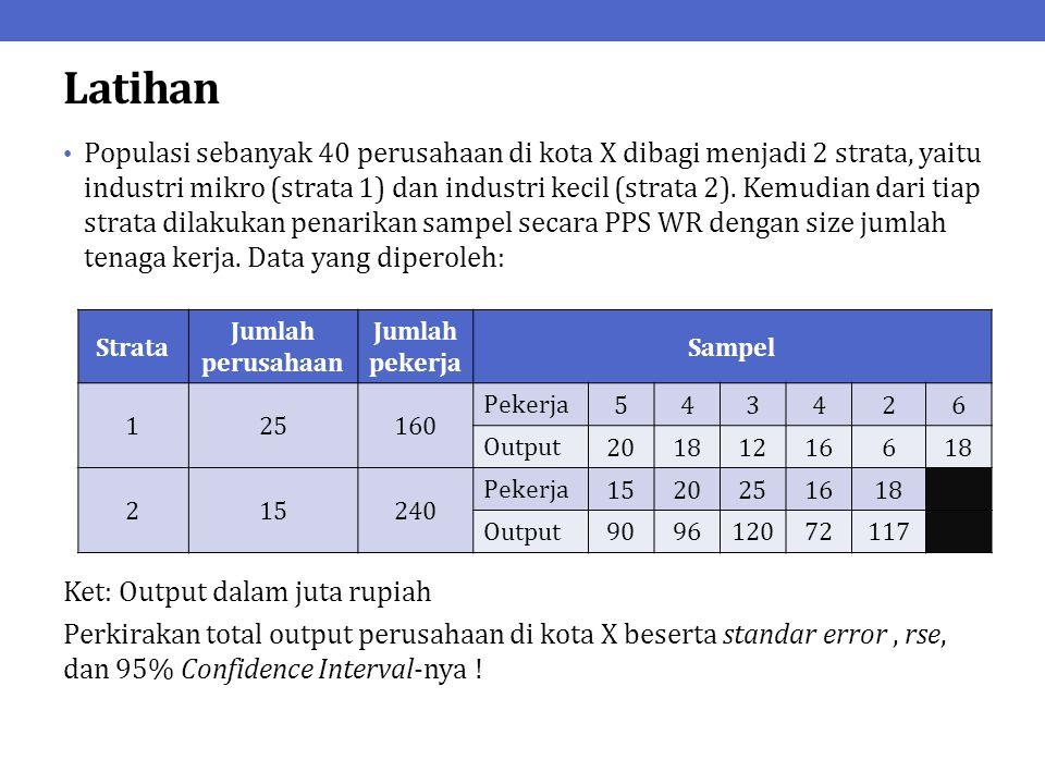 PPS WOR Pada prinsipnya, PPS WOR akan menghasilkan estimator yang lebih efisien daripada PPS WR.