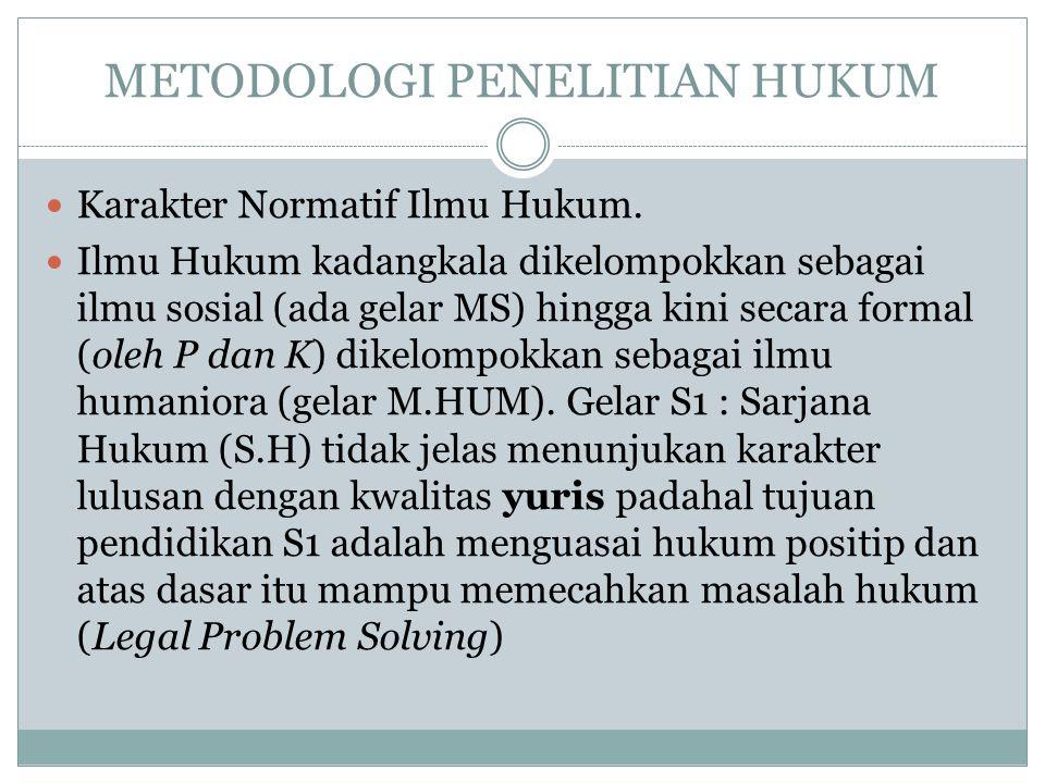 METODOLOGI PENELITIAN HUKUM Karakter Normatif Ilmu Hukum.