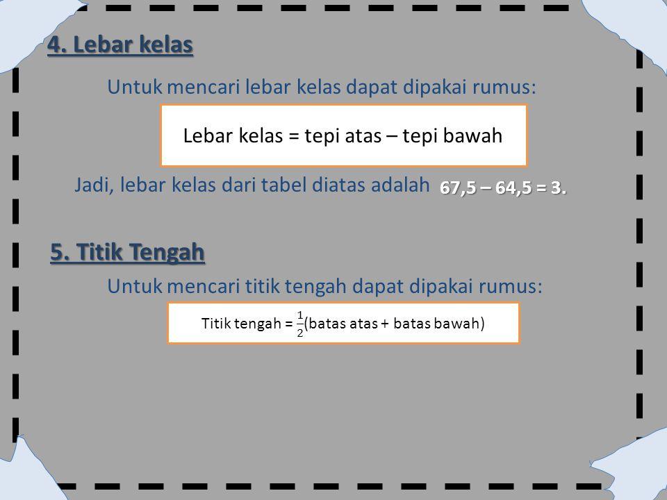 4. Lebar kelas Untuk mencari lebar kelas dapat dipakai rumus: Jadi, lebar kelas dari tabel diatas adalah 67,5 – 64,5 = 3. 5. Titik Tengah Untuk mencar