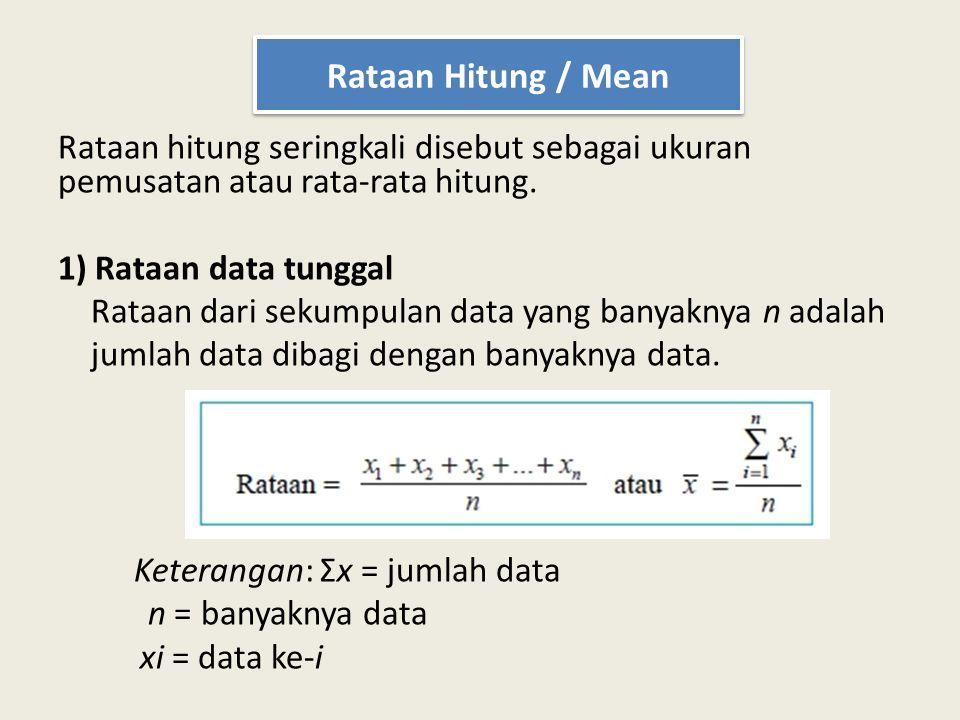 Rataan hitung seringkali disebut sebagai ukuran pemusatan atau rata-rata hitung. 1) Rataan data tunggal Rataan dari sekumpulan data yang banyaknya n a