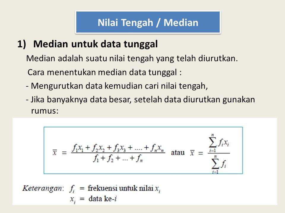 1)Median untuk data tunggal Median adalah suatu nilai tengah yang telah diurutkan. Cara menentukan median data tunggal : - Mengurutkan data kemudian c