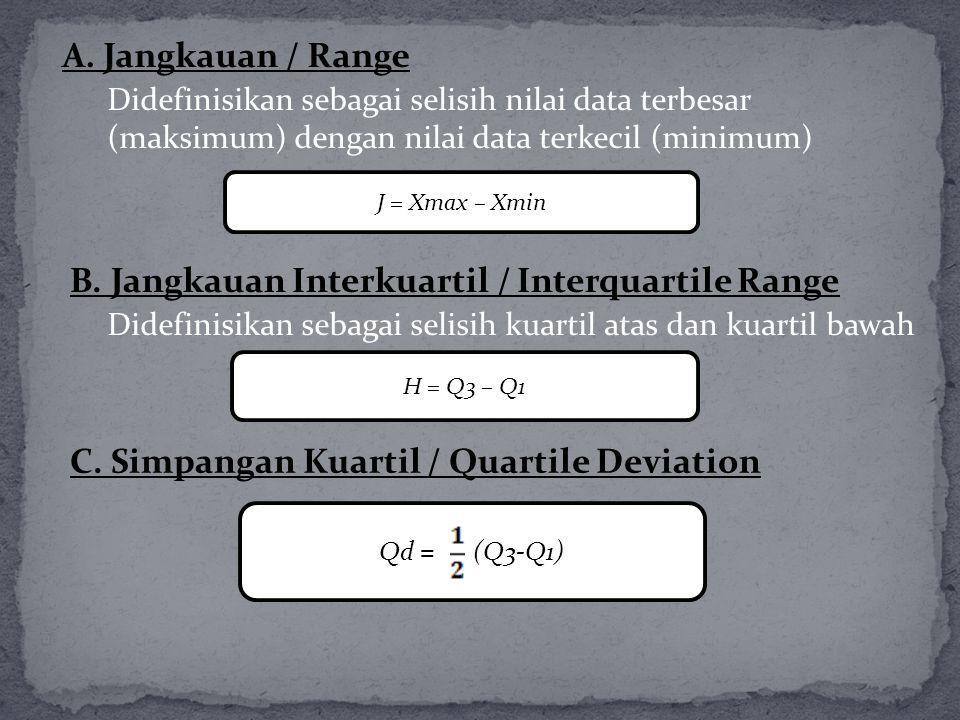 A. Jangkauan / Range Didefinisikan sebagai selisih nilai data terbesar (maksimum) dengan nilai data terkecil (minimum) J = Xmax – Xmin B. Jangkauan In
