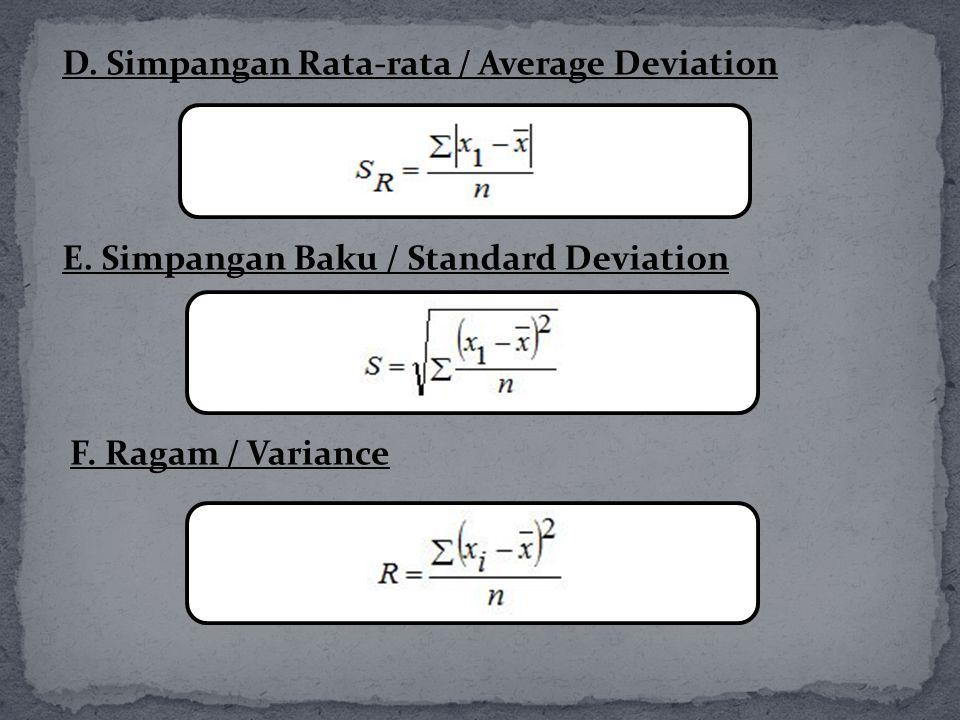 D. Simpangan Rata-rata / Average Deviation E. Simpangan Baku / Standard Deviation F. Ragam / Variance