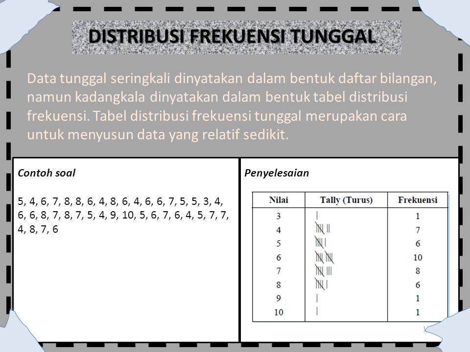 Data tunggal seringkali dinyatakan dalam bentuk daftar bilangan, namun kadangkala dinyatakan dalam bentuk tabel distribusi frekuensi. Tabel distribusi