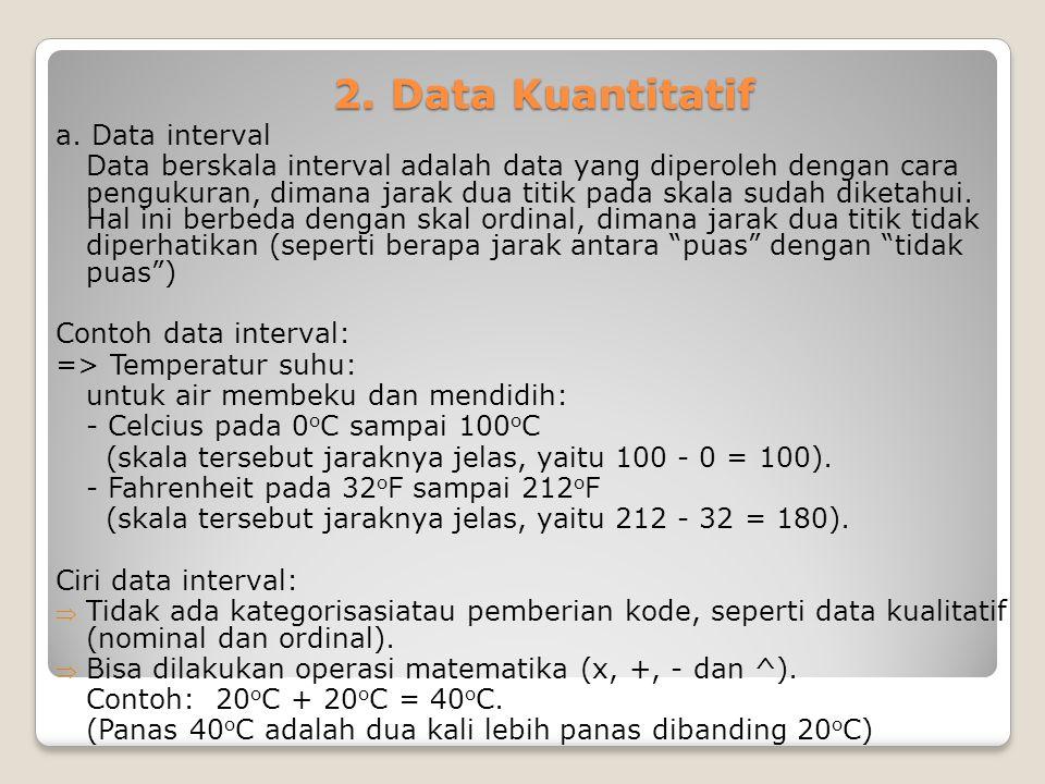 2. Data Kuantitatif a. Data interval Data berskala interval adalah data yang diperoleh dengan cara pengukuran, dimana jarak dua titik pada skala sudah