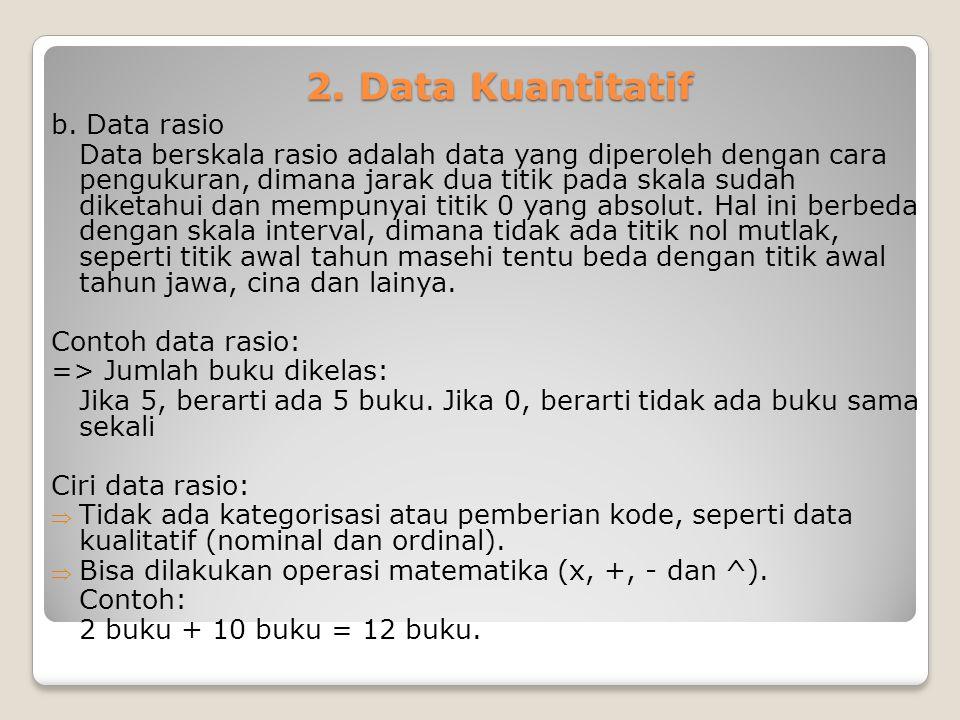 2. Data Kuantitatif b. Data rasio Data berskala rasio adalah data yang diperoleh dengan cara pengukuran, dimana jarak dua titik pada skala sudah diket