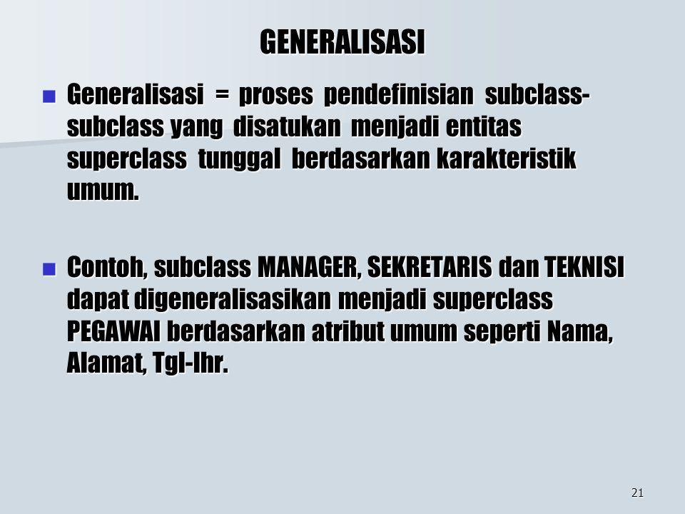 21 GENERALISASI Generalisasi = proses pendefinisian subclass- subclass yang disatukan menjadi entitas superclass tunggal berdasarkan karakteristik umu