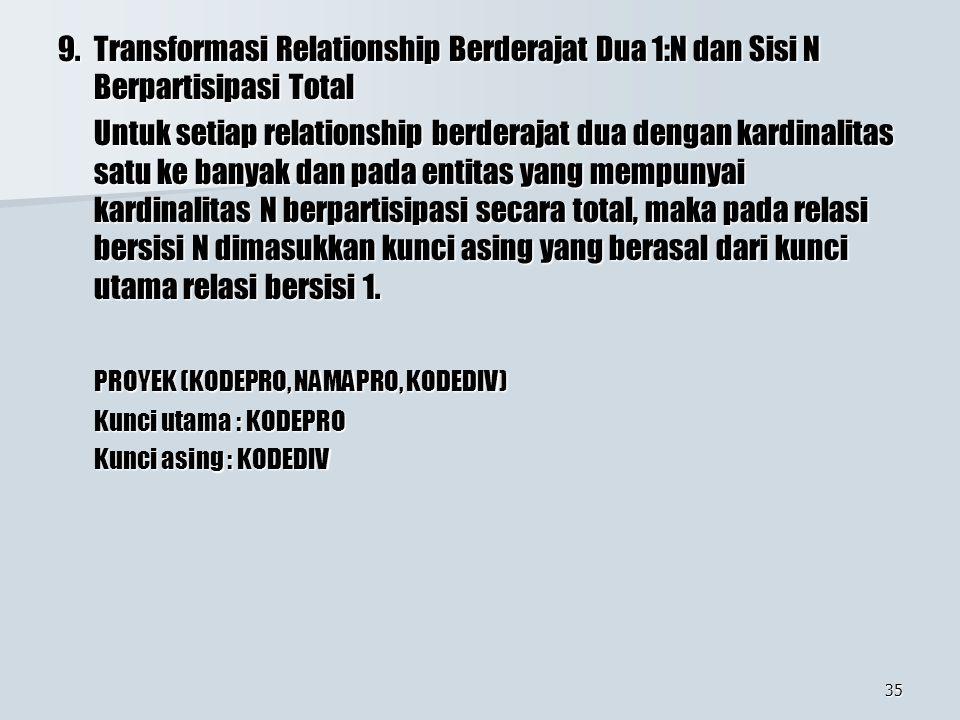 35 9.Transformasi Relationship Berderajat Dua 1:N dan Sisi N Berpartisipasi Total Untuk setiap relationship berderajat dua dengan kardinalitas satu ke banyak dan pada entitas yang mempunyai kardinalitas N berpartisipasi secara total, maka pada relasi bersisi N dimasukkan kunci asing yang berasal dari kunci utama relasi bersisi 1.