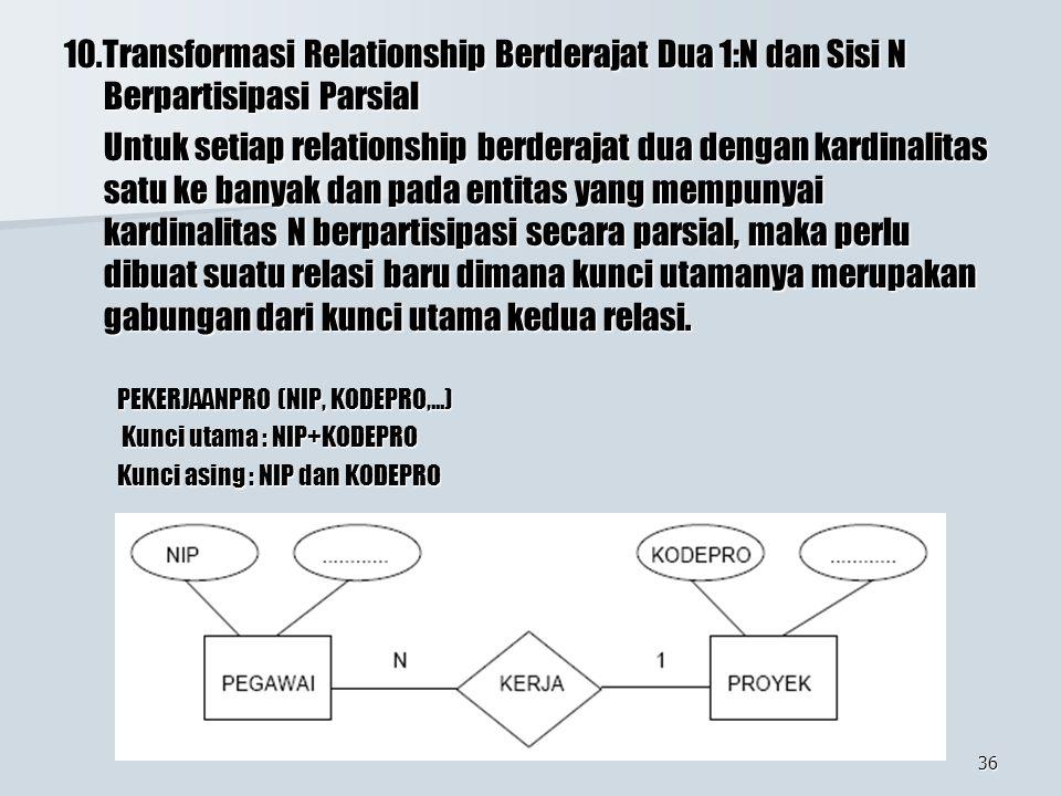 36 10.Transformasi Relationship Berderajat Dua 1:N dan Sisi N Berpartisipasi Parsial Untuk setiap relationship berderajat dua dengan kardinalitas satu ke banyak dan pada entitas yang mempunyai kardinalitas N berpartisipasi secara parsial, maka perlu dibuat suatu relasi baru dimana kunci utamanya merupakan gabungan dari kunci utama kedua relasi.
