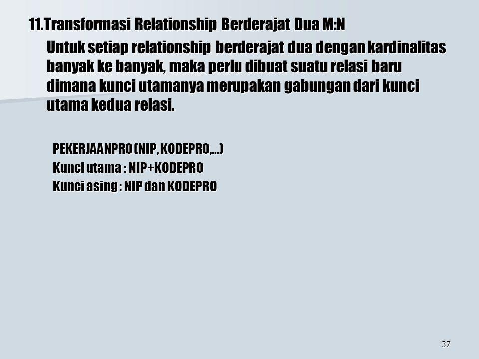 37 11.Transformasi Relationship Berderajat Dua M:N Untuk setiap relationship berderajat dua dengan kardinalitas banyak ke banyak, maka perlu dibuat su