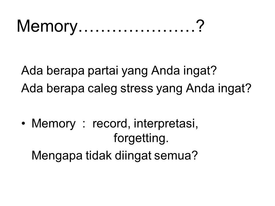 Memory………………….Ada berapa partai yang Anda ingat. Ada berapa caleg stress yang Anda ingat.