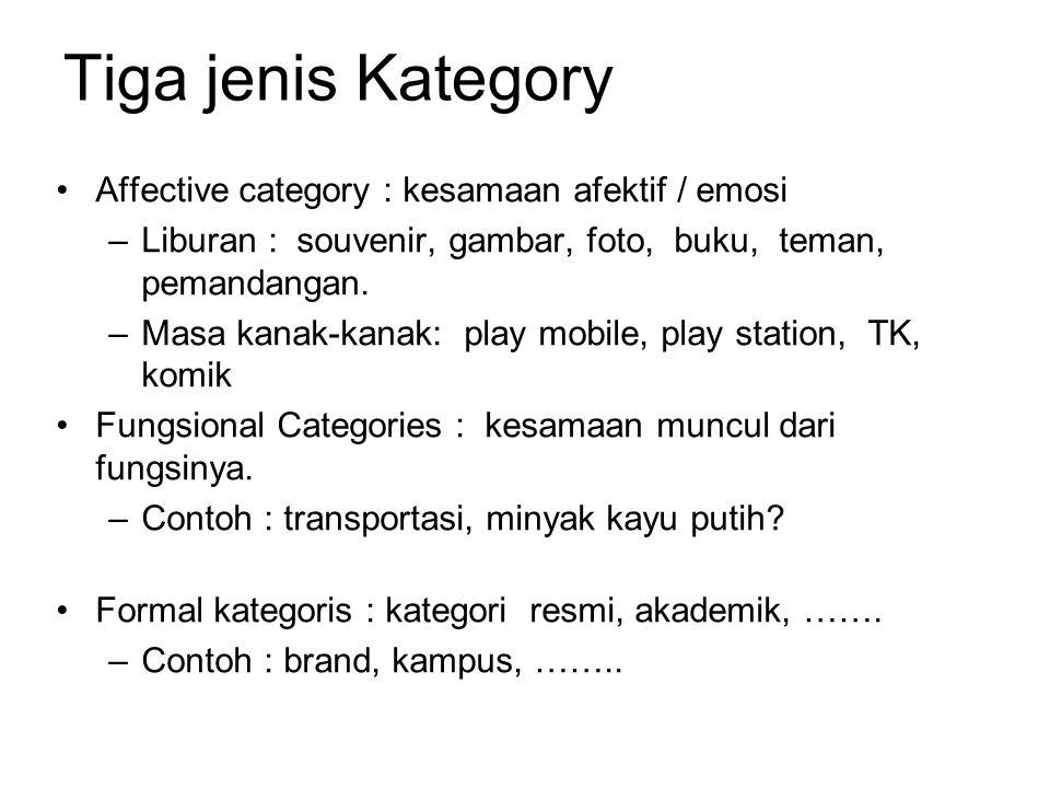 Tiga jenis Kategory Affective category : kesamaan afektif / emosi –Liburan : souvenir, gambar, foto, buku, teman, pemandangan.