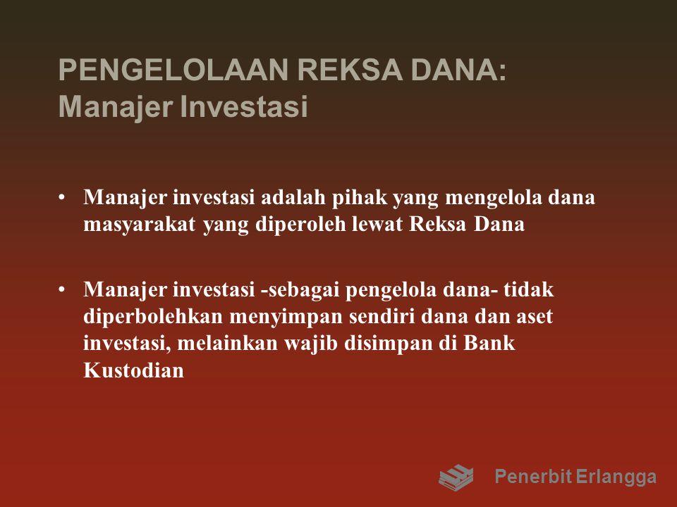 PENGELOLAAN REKSA DANA: Manajer Investasi Manajer investasi adalah pihak yang mengelola dana masyarakat yang diperoleh lewat Reksa Dana Manajer invest