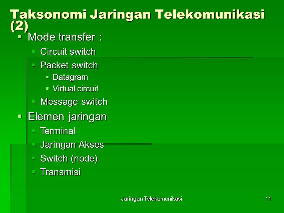 Jaringan Telekomunikasi11 Taksonomi Jaringan Telekomunikasi (2)  Mode transfer :  Circuit switch  Packet switch  Datagram  Virtual circuit  Mess
