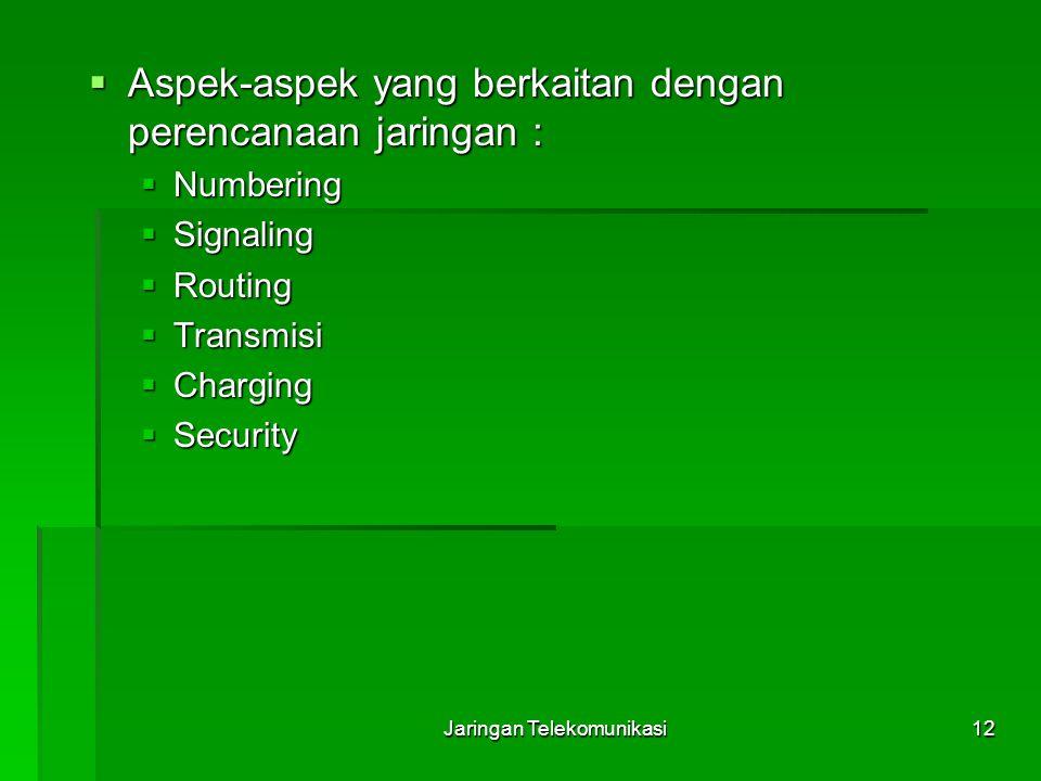 Jaringan Telekomunikasi12  Aspek-aspek yang berkaitan dengan perencanaan jaringan :  Numbering  Signaling  Routing  Transmisi  Charging  Securi