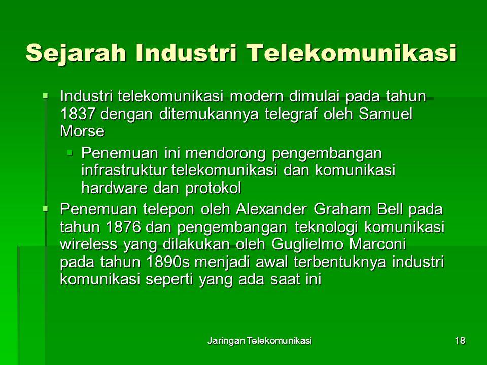 Jaringan Telekomunikasi18 Sejarah Industri Telekomunikasi  Industri telekomunikasi modern dimulai pada tahun 1837 dengan ditemukannya telegraf oleh S