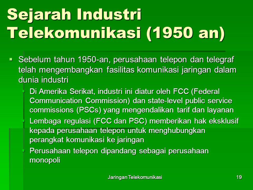 Jaringan Telekomunikasi19 Sejarah Industri Telekomunikasi (1950 an)  Sebelum tahun 1950-an, perusahaan telepon dan telegraf telah mengembangkan fasil