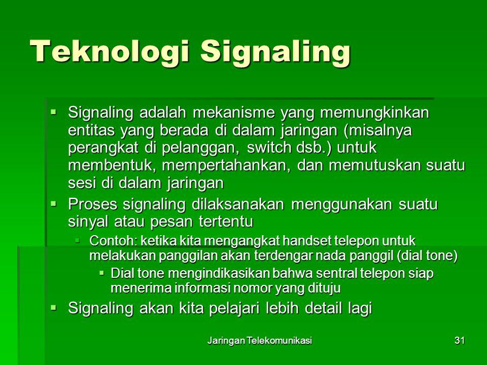 Jaringan Telekomunikasi31 Teknologi Signaling  Signaling adalah mekanisme yang memungkinkan entitas yang berada di dalam jaringan (misalnya perangkat