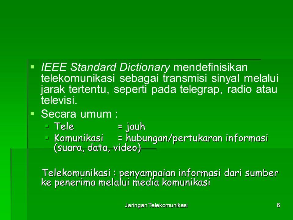 Jaringan Telekomunikasi6   IEEE Standard Dictionary mendefinisikan telekomunikasi sebagai transmisi sinyal melalui jarak tertentu, seperti pada tele