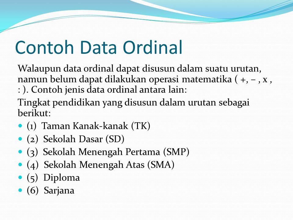 Contoh Data Ordinal Walaupun data ordinal dapat disusun dalam suatu urutan, namun belum dapat dilakukan operasi matematika ( +, –, x, : ). Contoh jeni