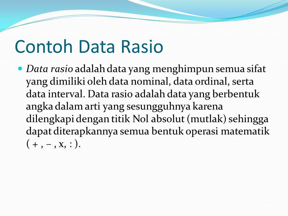 Contoh Data Rasio Data rasio adalah data yang menghimpun semua sifat yang dimiliki oleh data nominal, data ordinal, serta data interval. Data rasio ad