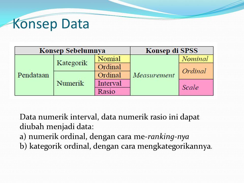 Konsep Data Data numerik interval, data numerik rasio ini dapat diubah menjadi data: a) numerik ordinal, dengan cara me-ranking-nya b) kategorik ordin