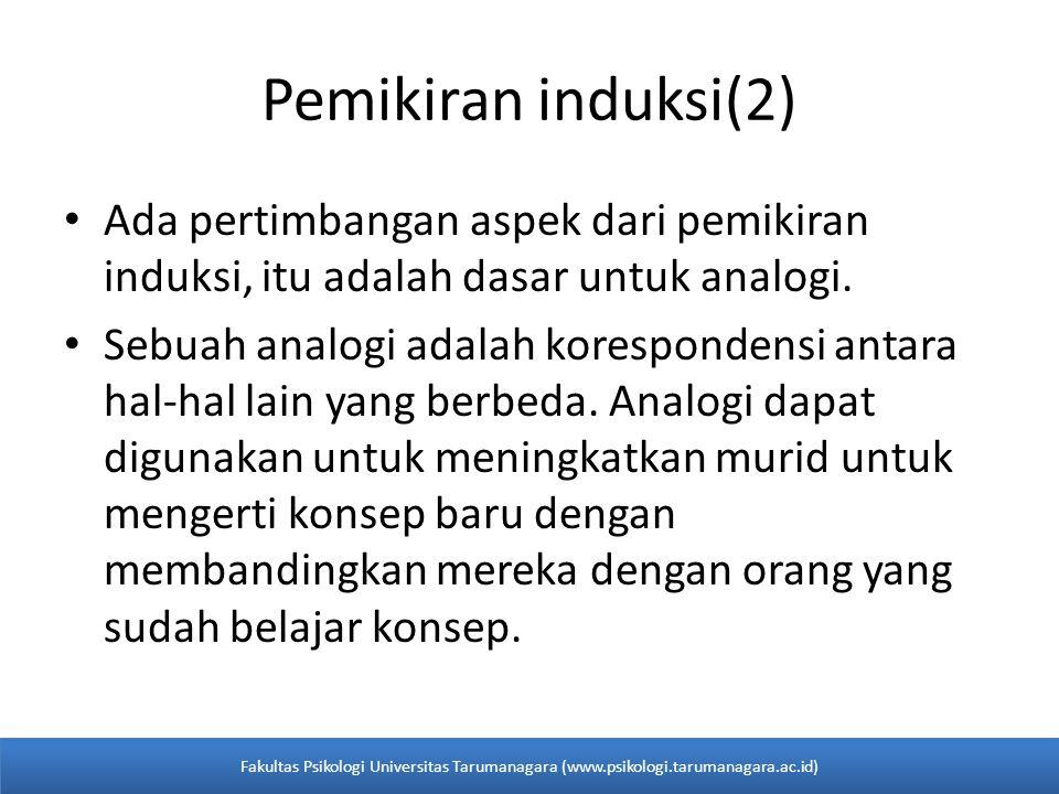 Pemikiran induksi(2) Ada pertimbangan aspek dari pemikiran induksi, itu adalah dasar untuk analogi. Sebuah analogi adalah korespondensi antara hal-hal