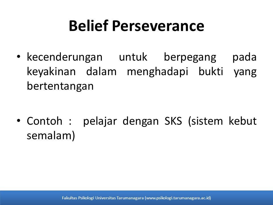 Belief Perseverance kecenderungan untuk berpegang pada keyakinan dalam menghadapi bukti yang bertentangan Contoh : pelajar dengan SKS (sistem kebut se