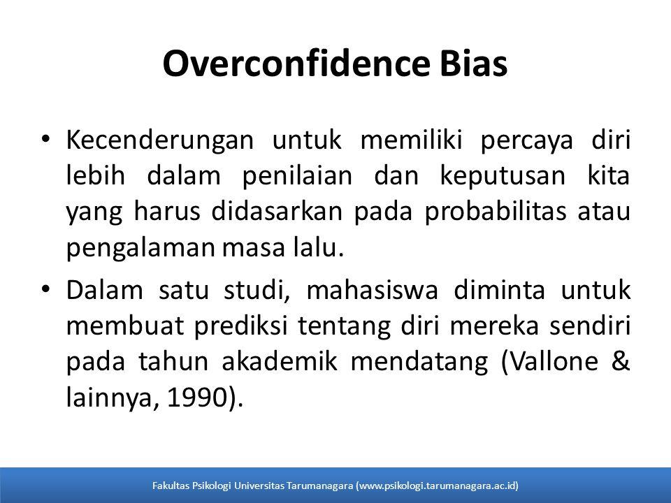 Overconfidence Bias Kecenderungan untuk memiliki percaya diri lebih dalam penilaian dan keputusan kita yang harus didasarkan pada probabilitas atau pe